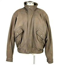 Roundtree Yorke Leather Bomber Jacket Super Soft Brown Pilot Flight Mens... - $24.74