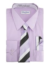 Berlioni Italy Toddlers Kids Boys Long Sleeve Dress Shirt Set With Tie & Hanky image 10