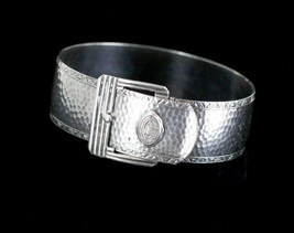 Antique Sterling Penn hall Girls Prep School 1906 Marsh Buckle Bangle Br... - $114.74