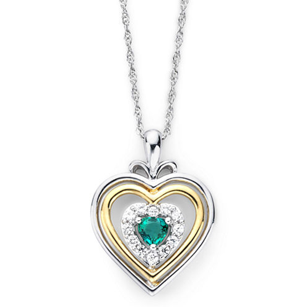 "Primary image for Emerald & Sim.Diamond Accent Two-Tone Plated Heart Pendant With 18"" Necklace"