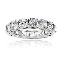 925 Sterling Silver 5.85ct Asscher-Cut CZ Eternity Wedding Band Ring ALL... - $21.73