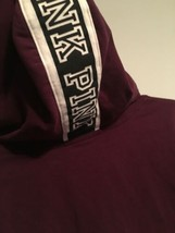 Victoria Secret Pink Small Hoodie Full Zip Maroon Black With Big Logo On... - $34.99