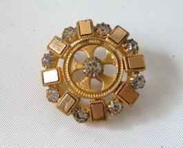 Antique Victorian Mixed Gold Filled Pin Brooch Rhinestones Gilt Dazzling - $39.60