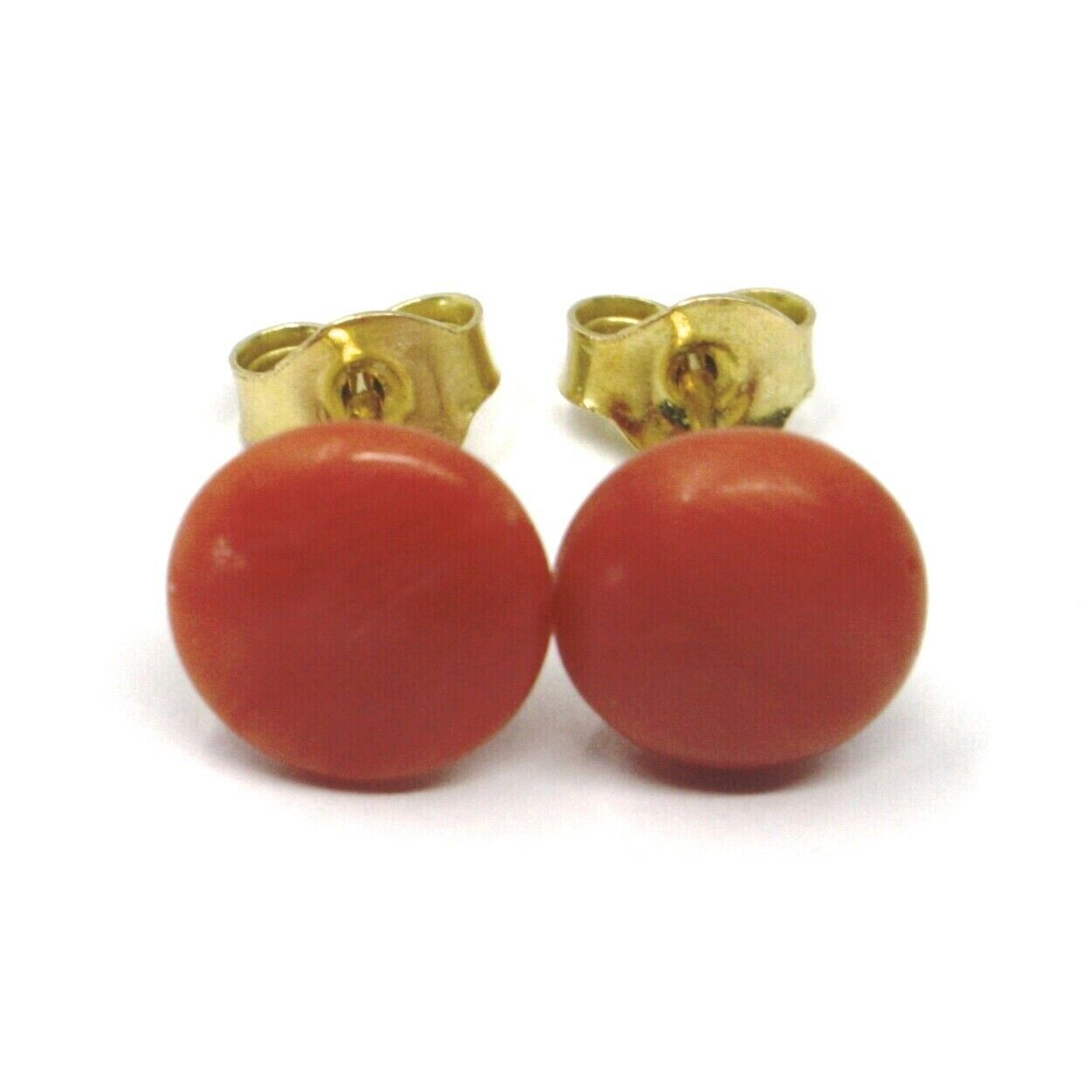 18K YELLOW GOLD HALF SPHERE DISC RED CORAL BUTTON EARRINGS, 9 MM, 0.35 INCHES