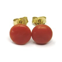 18K YELLOW GOLD HALF SPHERE DISC RED CORAL BUTTON EARRINGS, 9 MM, 0.35 INCHES image 1