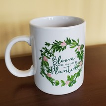 """Mug """"Bloom Where You Are Planted"""", ceramic white with leaves floral design 14oz image 2"""
