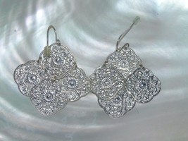 Estate Lightweight Lacey Silvertone Medallion Dangle Earrings for Pierce... - $8.59