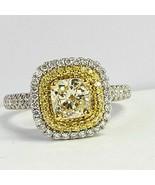 1.57 Ct Cushion Cut Halo Yellow Diamond Engagement Ring 14k White Gold - $3,345.72