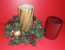 Pine Cone Christmas Wreath Ring Centerpiece + 2 Pillar Candles Gold Red ... - $6.41