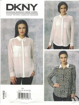 Vogue 1462 DKNY Donna Karan Shirt Blouse Pattern Covered Placket Choose ... - $12.99