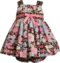 Bonnie Jean Baby Girl 3M-24M Brown Pink Blue Floral Print Cotton Dress