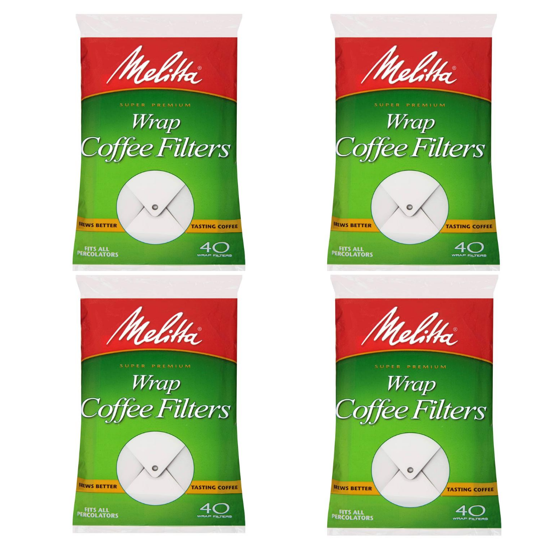 4 Packs 160 Filters White Wrap Coffee Filters by Melitta - $31.89