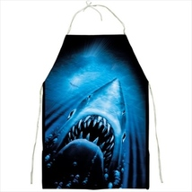 apron kitchen bbq barbecue cook jaws shark halloween horror - $23.00