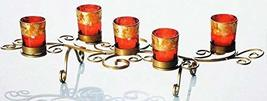 Gold Metal 5 Light Scroll Design Candle Holder with Red & Gold Glass Votives - $39.59