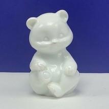 Fenton glass teddy bear figurine birthday sculpture milk white solid sno... - $48.17