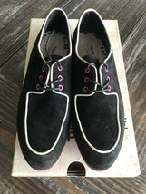 Hush Puppies Graham Blucher Black Pink Oxford Suede Shoes Sz 6.5 worn once - £18.91 GBP