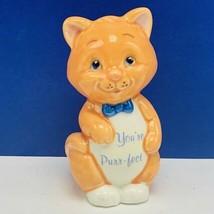 Cat kitten figurine vintage Russ Berrie Youre Purr-fect salmon decor sculpture  - $17.71