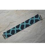 Bracelet: Dark & Light Teal Geometric Motif, Peyote Stitch, Tube Clasp - $39.00