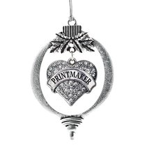 Inspired Silver Printmaker Pave Heart Holiday Christmas Tree Ornament With Cryst - $14.69