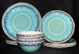 222 Fifth Sea Splash Melamine 12pc DINNER & SALAD PLATES & BOWLS Turquoi... - $84.99
