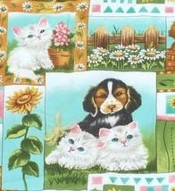 "Handmade Baby Quilt Puppies Kittens Throw Blanket 42 x 53"" - $22.04"