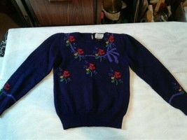 Vintage Susan Bristol Hand Embroided Women 34 Pull Over Sweater Purple (... - $23.38