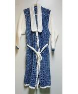 Vintage Crochet Bath Robe Adult Large Hand Made Denim Blue Great Prop c1... - $49.99