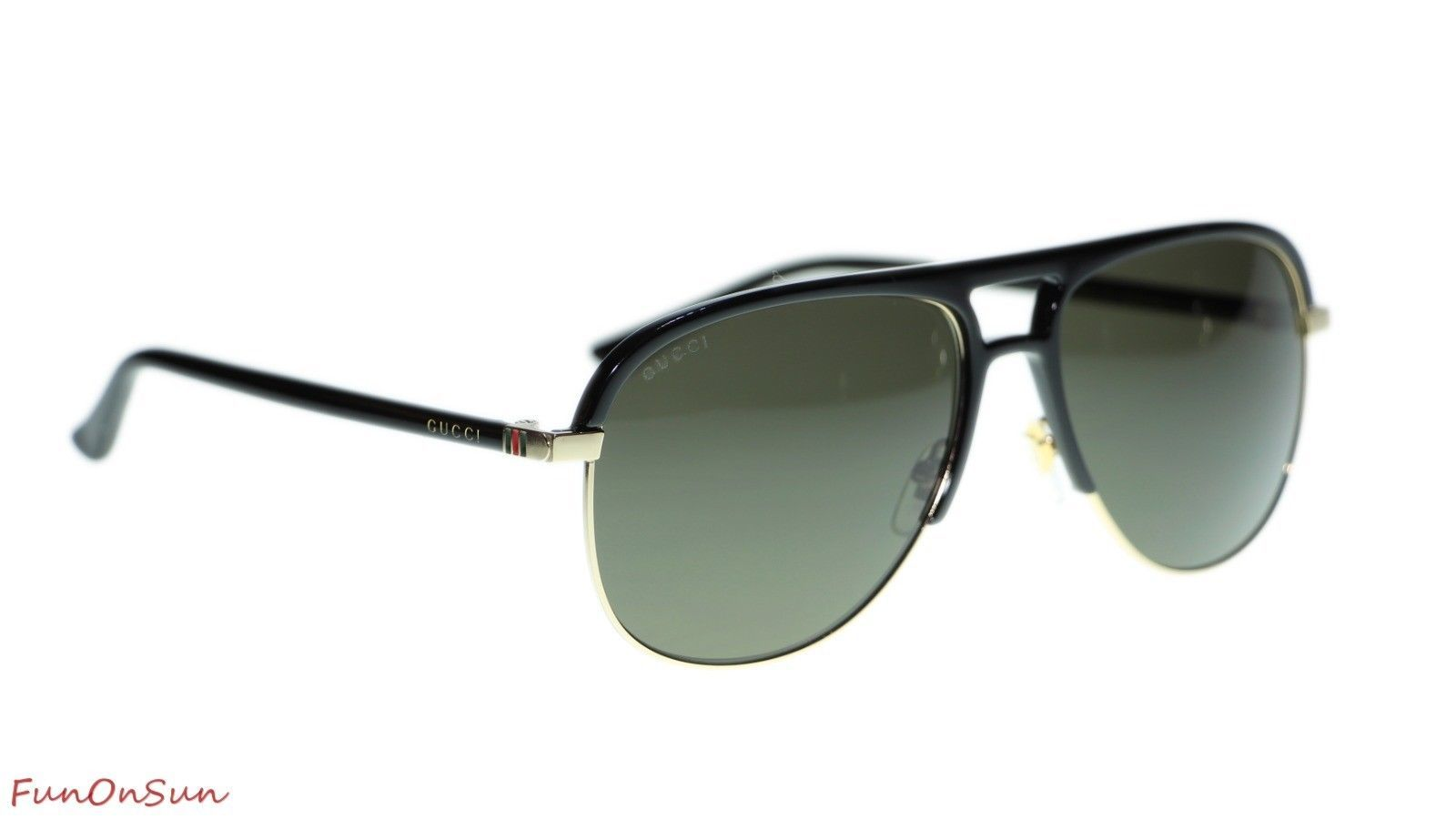 a9f82b56234 NEW Gucci Men s Sunglasses GG0292S 001 Black Grey Lens Pilot 60mm Authentic