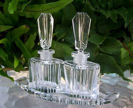 """PAIR~Vintage Czech Perfume Bottles & Tray~Signed~RARE~5""""Tall~Excellent C... - $351.99"""