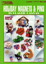 Holiday Magnets & Pins in Plastic Canvas Crosses Valentines Pilgrims Fla... - $7.50