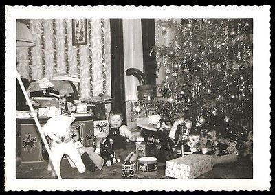 Toys Christmas Tree Drum Train Teddy Bear Horse Little Boy Vintage Photo