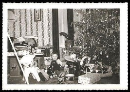 Toys Christmas Tree Drum Train Teddy Bear Horse Little Boy Vintage Photo image 1