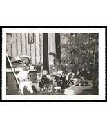 Toys Christmas Tree Drum Train Teddy Bear Horse Little Boy Vintage Photo - $12.99