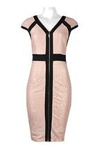 Jax V-Neck Cap Sleeve Zipper Front Banded Bodycon Knit Jersey Dress (Bla... - $55.99