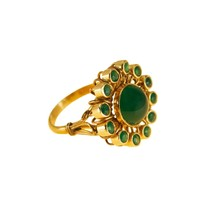 Vintage Gold Ring Green Onyx 14k yellow Gold Cluster ring - $682.96