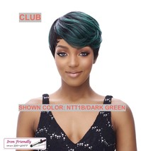IT'S A WIG SYNTHETIC WIG 'CLUB' COLOR NTT1B/DARK GREEN HEAT SAFE 350 F