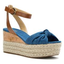 Michael Kors Maxwell Mid Wedge Light Blue Platform Sandals Shoes Multipl... - $79.99