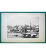 BRITISH HONDURAS Belize City View from Harbor - 1891 Antique Print Engra... - $20.25