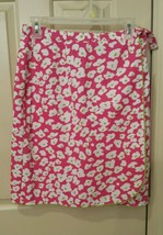 TALBOTS Classic Wrap Skirt Pink White Lime Green Floral Woman's Size 8 - $15.87