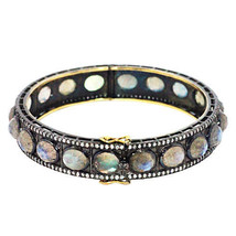 Natural 2ct Diamond Pave Labradorite 925 Sterling Silver Bangle 14k Gold Jewelry - $997.74