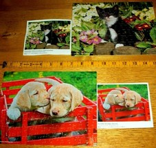 2 Jigsaw Puzzles Kitty Cat In Garden Labrador Puppy Dogs Red Wagon Both ... - $7.91
