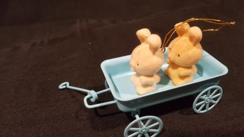 Vintage Avon spring bunny collection Bunnies in wagon