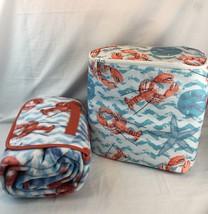 Cooler Bag Matching Fold Out Fleece Beach Blanket Picnic Set Lobster Pri... - $268,04 MXN