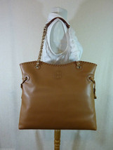 NWT Tory Burch Bark Brown Pebbled Leather Marion NS Slouchy Tote - $542.50