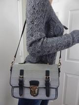 KATE SPADE Lola Avenue Lia Stripped Fabric Black Leather Flap Cross Body... - £74.89 GBP