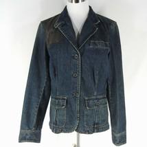 RALPH LAUREN JEANS Denim Blazer Jean Jacket L Button Front Leather Trim ... - $23.99
