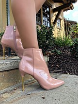 Qupid Patent PU Snake High Heels Stiletto Dress Pointy Toe Bootie Ankle Boots - $31.99