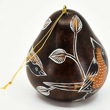 Handcrafted Carved Gourd North American Birds Cardinal Quail Ornament Made Peru image 4