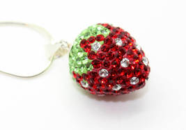 Adorable Sterling Silver Crystal Rhinestone Strawberry Pendant on STERLING Silve - $44.99