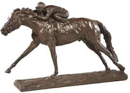 Sculpture Statue Photo Finish Horse Jockey #7 Equestrian - $339.00